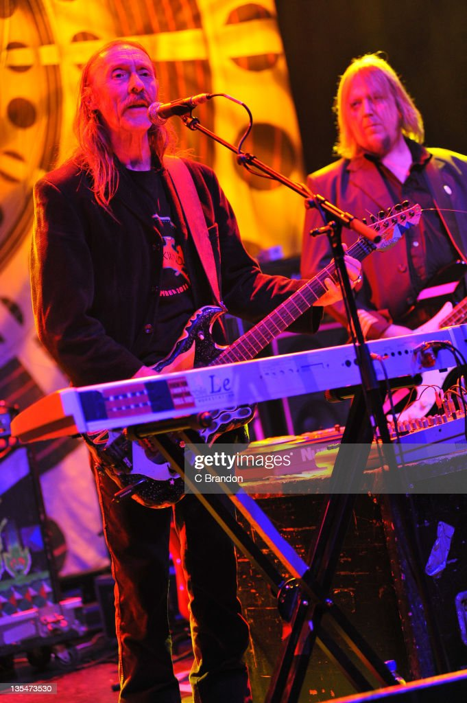 Dave Brock and Niall Hone of Hawkwind performs on stage at Shepherds Bush Empire on December 10, 2011 in London, England.