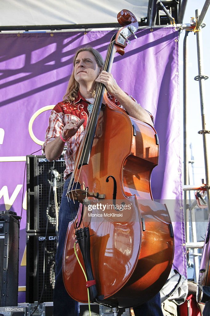 Dave Brouillette, String Bassist for Gal Holiday & The Honky Tonk Revue performs during the Verizon Super Bowl Boulevard at Woldenberg Park on February 1, 2013 in New Orleans, Louisiana.