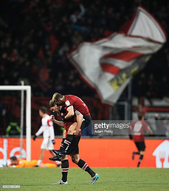 Dave Bulthuis and Laszlo Sepsi celebrate after the second goal during the Second Bundesliga match between 1 FC Nuernberg and 1 FC Kaiserslautern at...