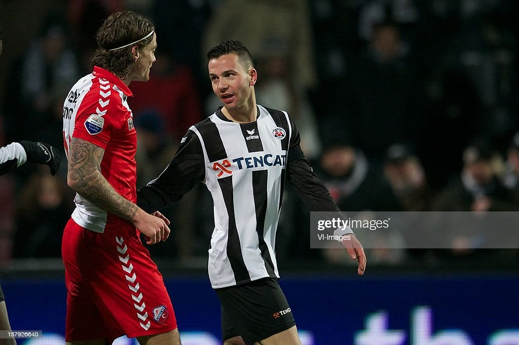 Dave Bulthuis of FC Utrecht, Thomas Bruns of Heracles Almelo during the Dutch Eredivisie match between Heracles Almelo and FC Utrecht at the Polman Stadium on December 7, 2012 in Almelo, The Netherlands.