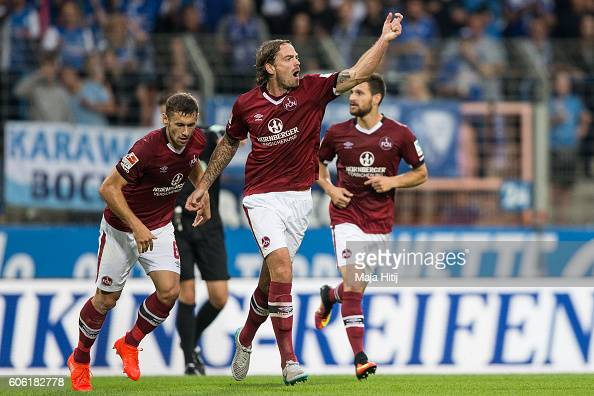 Dave Bulthuis of Nuernberg celebrates after scoring a goal to make it 32 during the Second Bundesliga match between VfL Bochum 1848 and 1 FC...