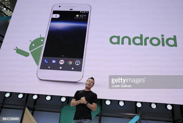 Dave Burke Google Vice President of Engineering for Android speaks during the opening keynote address at the Google I/O 2017 Conference at Shoreline...