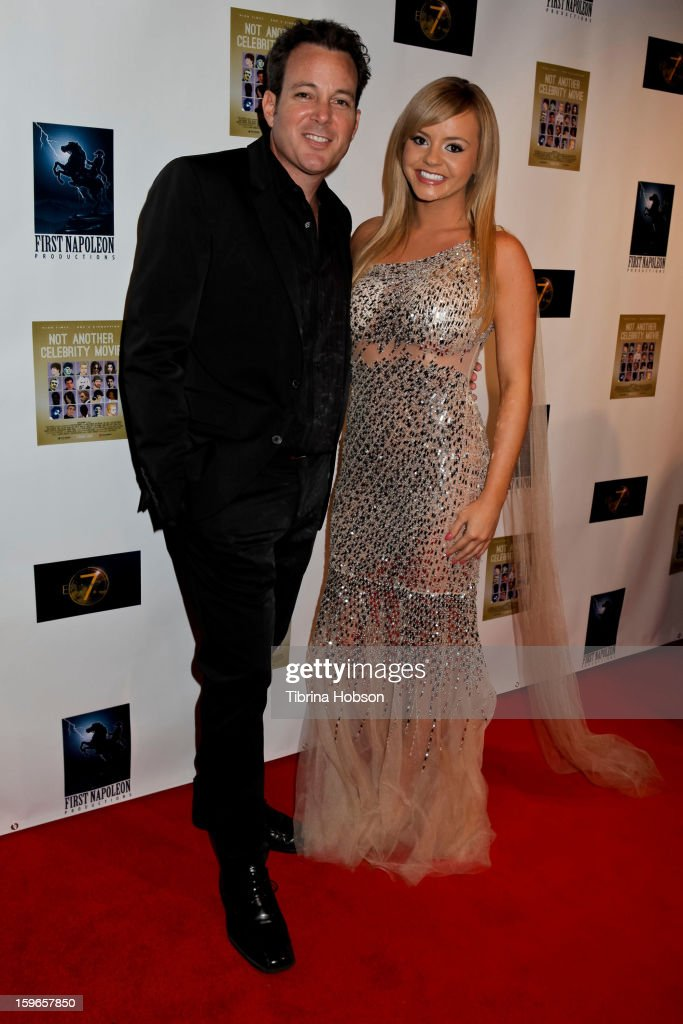 Dave Burleigh and Bree Olson attend the 'Not Another Celebrity Movie' Los Angeles premiere at Pacific Design Center on January 17, 2013 in West Hollywood, California.