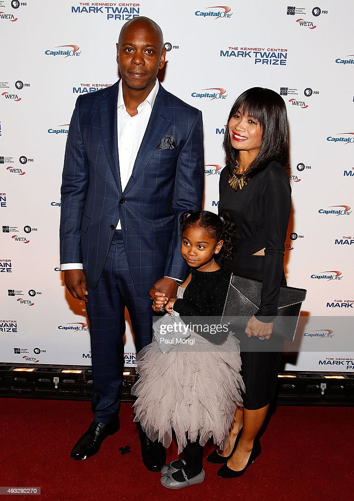Dave Chappelle, Elaine Chappelle (R) and their daughter attend the 18th Annual Mark Twain Prize for Humor at The John F. Kennedy Center for Performing Arts on October 18, 2015 in Washington, DC.