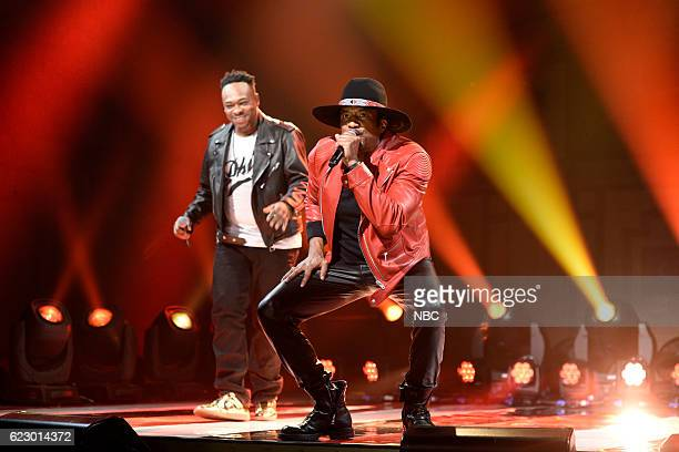 LIVE 'Dave Chappelle' Episode 1710 Pictured Jarobi White and QTip of musical guest A Tribe Called Quest perform on November 12 2016