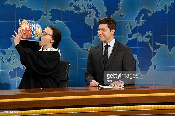 LIVE 'Dave Chappelle' Episode 1710 Pictured Kate McKinnon as Supreme Court Justice Ruth Bader Ginsburg and Colin Jost during Weekend Update on...
