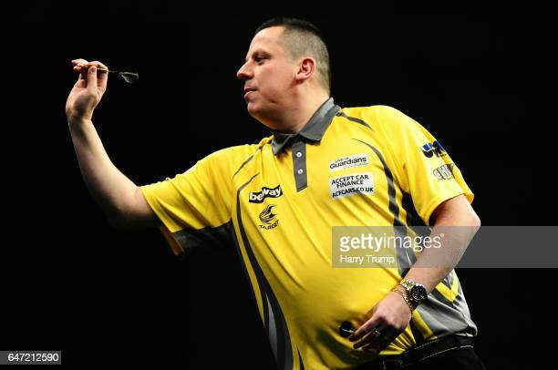 Dave Chisnall throws during Night Five of the Betway Premier League Darts at Westpoint Arena on March 2 2017 in Exeter England