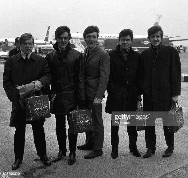 Dave Clark Five who displaced the Beatles from the top of the hit parade with Glad All Over leave London Airport for America * 20/9/03 Lead singer...