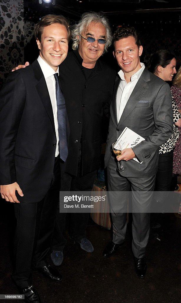 Dave Clark, Flavio Briatore and Nick Candy attend the launch of 'The New Digital Age: Reshaping The Future Of People, Nations and Business' by Eric Schmidt and Jared Cohen, hosted by Jamie Reuben, at Loulou's on May 28, 2013 in London, England.