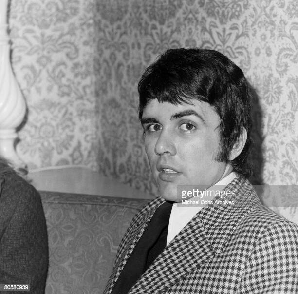Dave Clark leader and drummer for The Dave Clark Five relaxes in a hotel before a concert circa 1965 in Los Angeles California