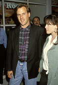 Dave Coulier and Alanis Morissette during 'Indian Summer' Cast and Crew Parking Lot Barbecue at Roots Clothing Store in Beverly Hills California...