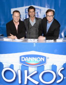 Dave Coulier John Stamos and Bob Saget show the lighter side of the game with Dannon Oikos on January 29 2014 in New York City