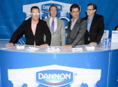 Dave Coulier VP of marketing at The Dannon Company Art D'Elia John Stamos and Bob Saget show the lighter side of the game with Dannon Oikos on...