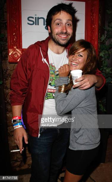Dave Danger from The Holloways and Caroline Flack attends the VIP Playstation Singstar Tent on June 27 2008 in Glastonbury England