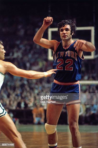 Dave DeBusschere of the New York Knicks passes during the Eastern Conference Finals against the Boston Celtics played in 1973 at the Boston Garden in...