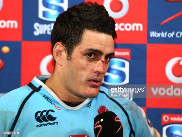 Dave Dennis ccaptain of the Waratahs speaks to the media after the Super Rugby Round 12 match between Southern Kings and Waratahs at Nelson Mandela...
