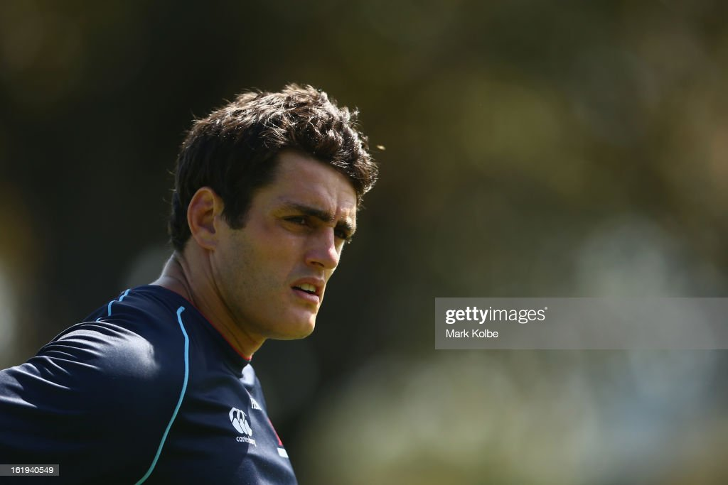 Dave Dennis looks on during a Waratahs Super Rugby training session at Victoria Barracks on February 18, 2013 in Sydney, Australia.
