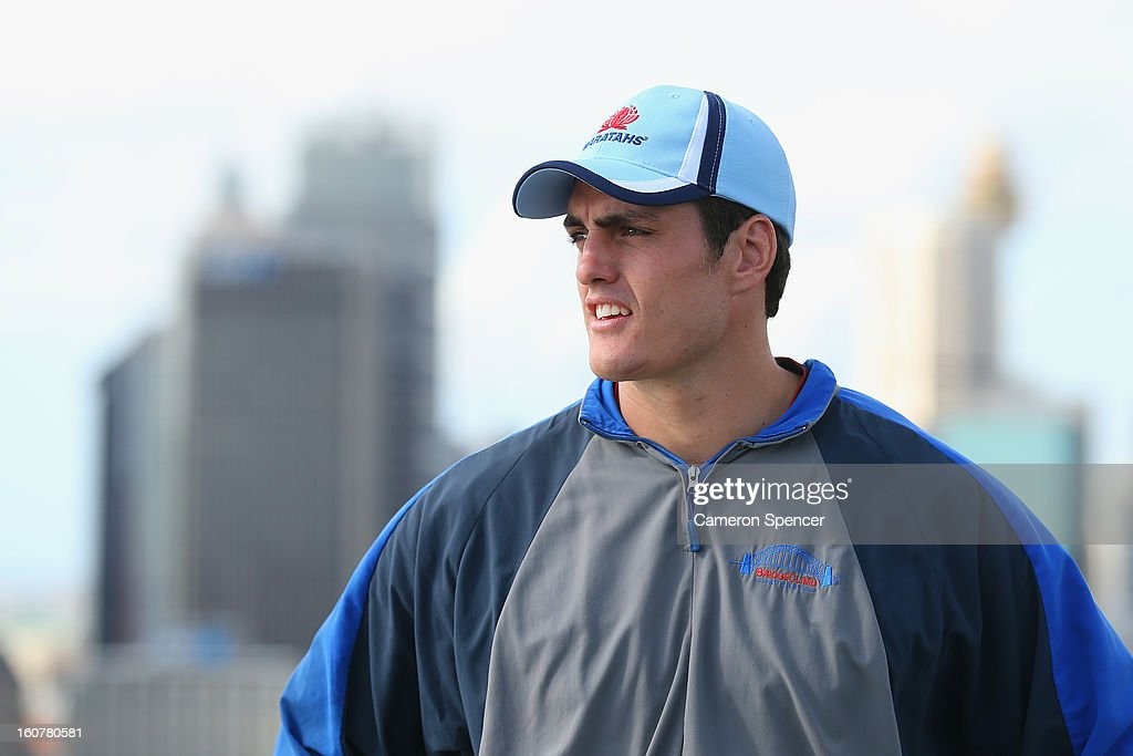 Dave Dennis of the Waratahs poses on top of the Sydney Harbour Bridge during a Waratahs promotional event during their season launch on February 6, 2013 in Sydney, Australia.
