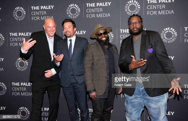 Dave Diomedi Jimmy Fallon Tariq Trotter and Ahmir Thompson attend an evening with 'The Tonight Show starring Jimmy Fallon' at The Paley Center for...