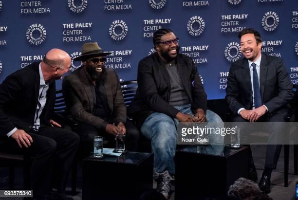 Dave Diomedi Tariq Trotter Ahmir Thompson and Jimmy Fallon attend an evening with 'The Tonight Show starring Jimmy Fallon' at The Paley Center for...