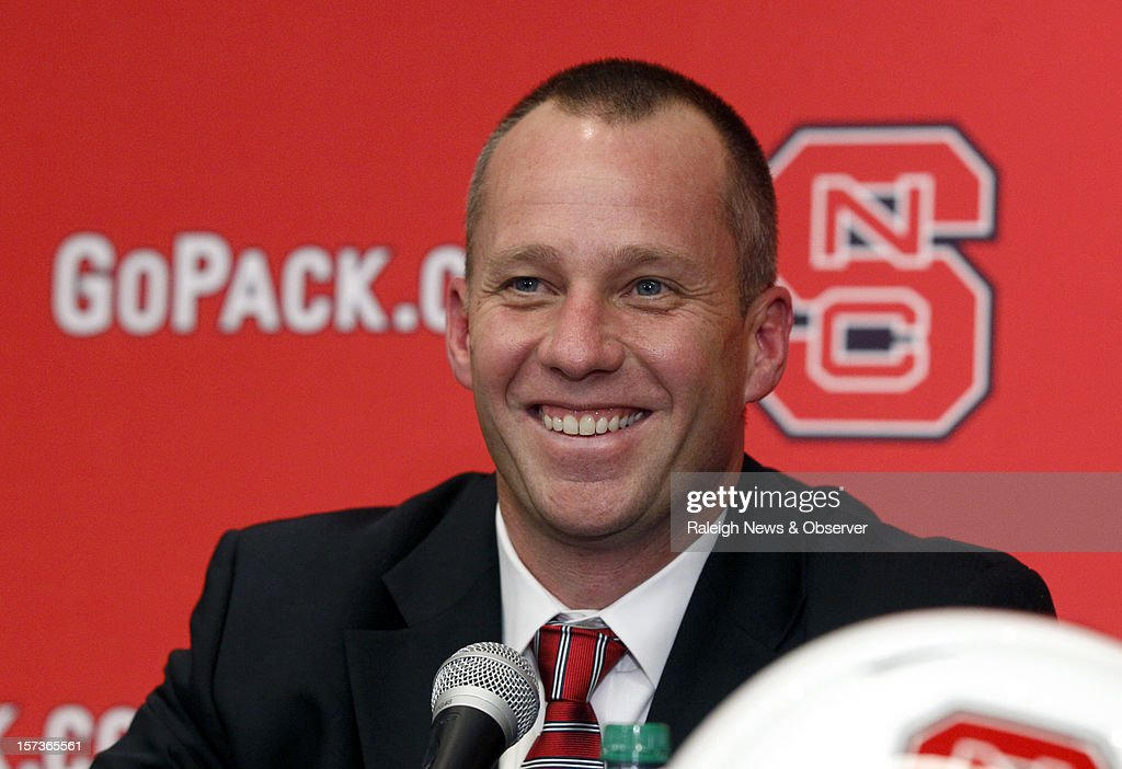 Dave Doeren smiles during a press conference where he was introduced as N.C. State's new head football coach Sunday, December 2, 2012, at the Wendell H. Murphy Football Center in Raleigh, North Carolina.