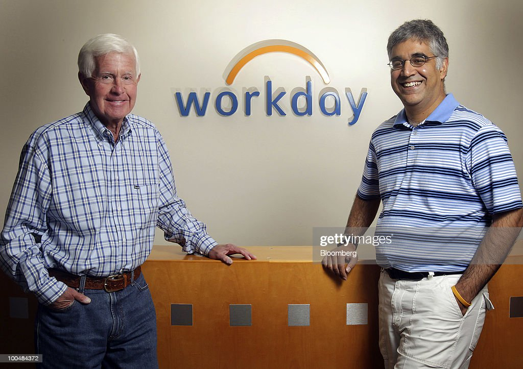 Dave Duffield, left, and Aneel Bhusri, both co-founders and co-chief executive officers of Workday Inc., stand for a photo at company headquarters in Pleasanton, California, U.S., on Friday, May 21, 2010. Workday sells subscriptions to Internet based software that some of the world's largest companies use to manage human resources, payroll, accounting, buying products and sending out orders. Photographer: Tony Avelar/Bloomberg via Getty Images