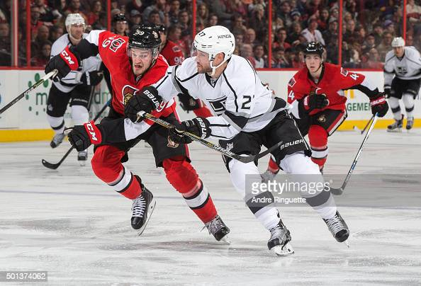 Dave Dziurzynski of the Ottawa Senators battles for position against Alec Martinez of the Los Angeles Kings at Canadian Tire Centre on December 14...