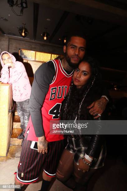 Dave East and Bibi Bourelly attend the Def Jam Upfronts 2017 showcase at Kola House on May 9 2017 in New York City