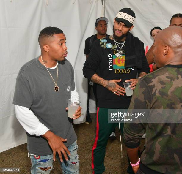 Dave East and Nas attend 2017 A3C Festival at Georgia Freight Depot on October 8 2017 in Atlanta Georgia