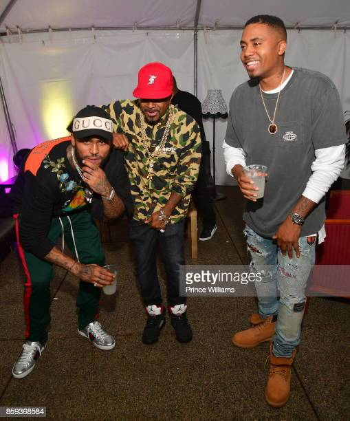 Dave East Jermaine Dupri and Nas attend the A3C Festival at Georgia Freight Depot on October 8 2017 in Atlanta Georgia