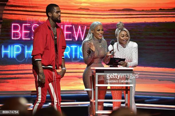 Dave East Keyshia Ka'Oir and Blac Chyna present the Best New Hip Hop Artist award onstage during the BET Hip Hop Awards 2017 at The Fillmore Miami...
