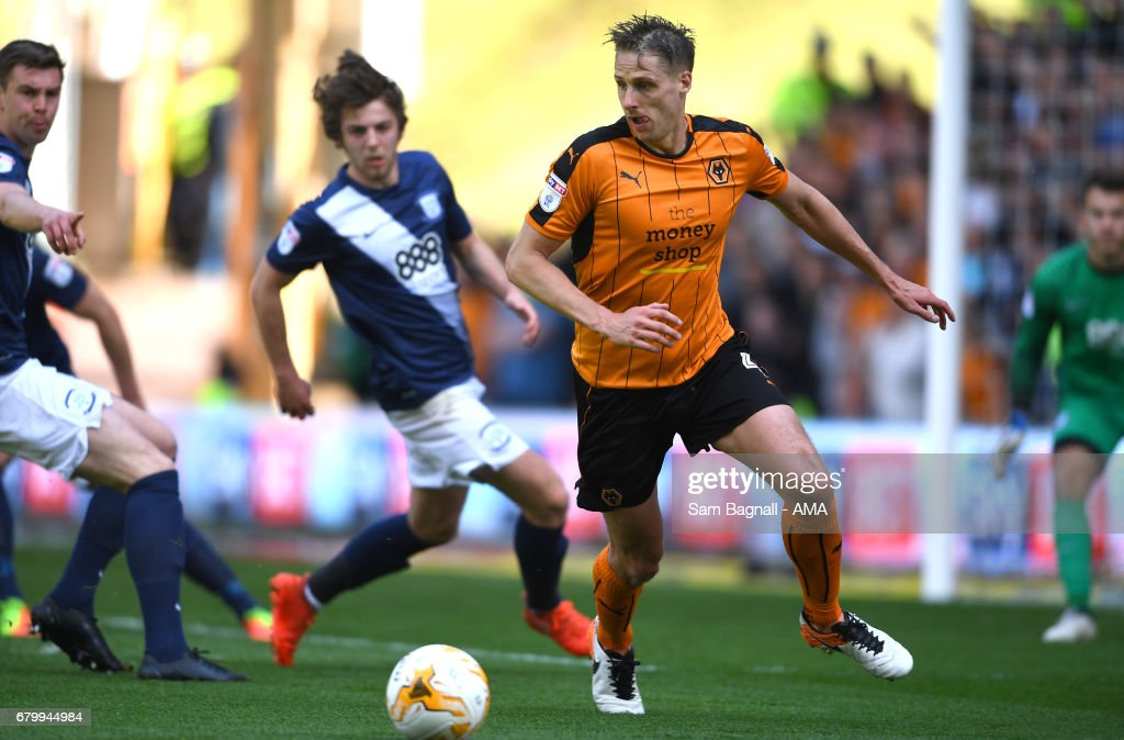 Dave Edwards of Wolverhampton Wanderers during the Sky Bet Championship match between Wolverhampton Wanderers and Preston North End at Molineux on May 7, 2017 in Wolverhampton, England.
