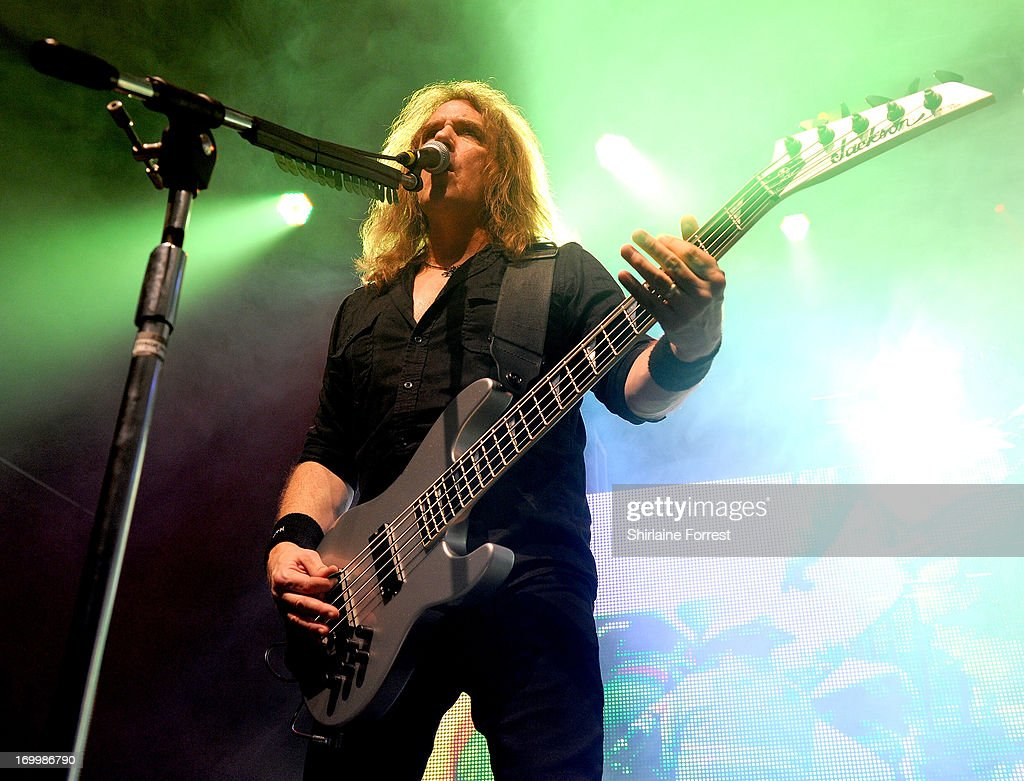 Dave Ellefson of Megadeth performs at Manchester Academy on June 5, 2013 in Manchester, England.