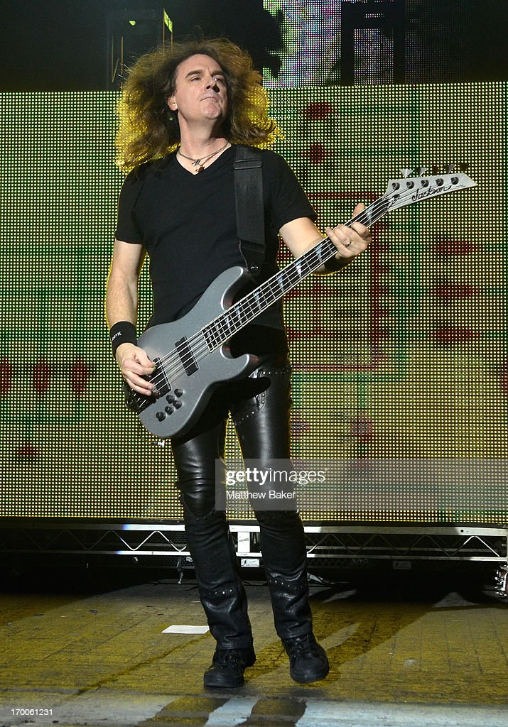 Dave Ellefson of Megadeth performs on stage at Brixton Academy on June 6, 2013 in London, England.