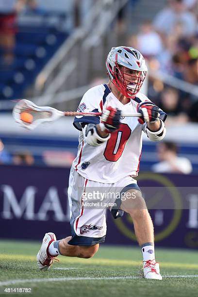 Dave Emala of the Boston Cannons takes a shot during a MLL Lacrosse game against the Chesapeake Bayhawks at NavyMarine Corps Memorial Stadium on July...