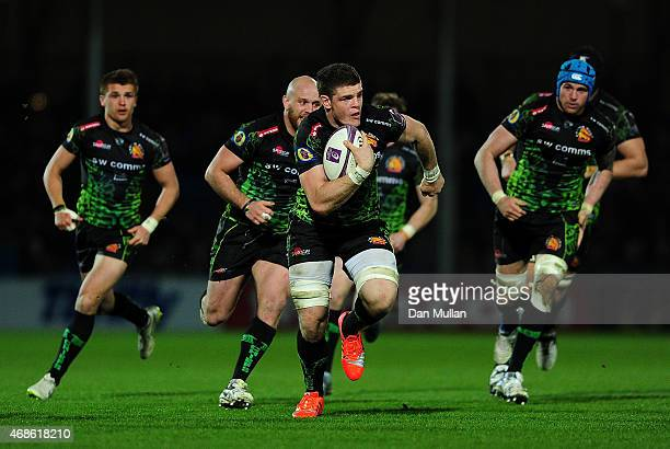 Dave Ewers of Exeter Chiefs makes a break during the European Rugby Challenge Cup match between Exeter Chiefs and Newcastle Falcons at Sandy Park on...