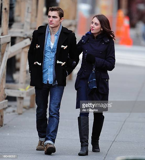Dave Franco and Alison Brie are seen in the West Village on February 1 2013 in New York City