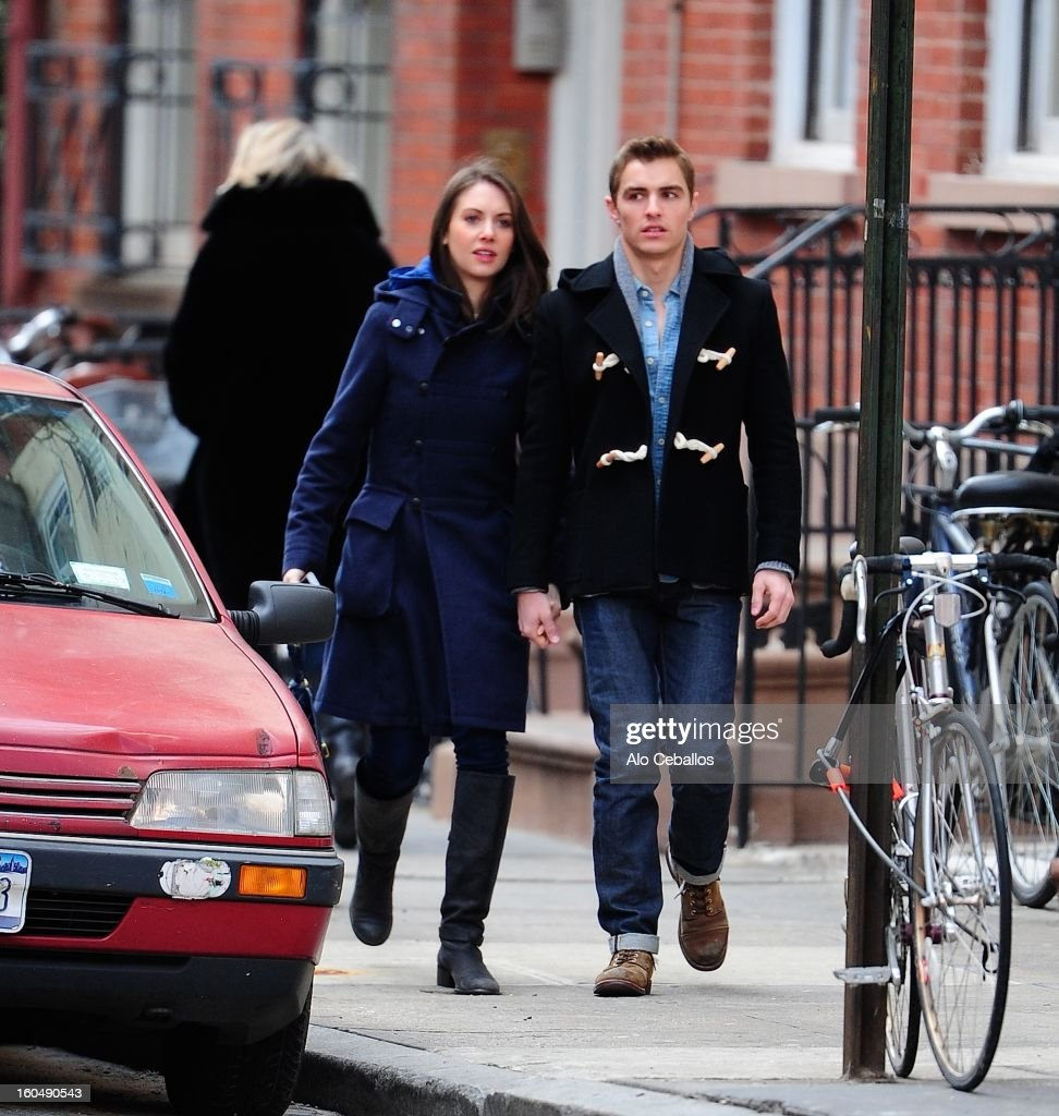 Dave Franco and Alison Brie are seen in the West Village on February 1, 2013 in New York City.
