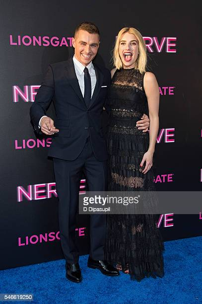 Dave Franco and Emma Roberts attend the 'Nerve' New York premiere at SVA Theater on July 12 2016 in New York City