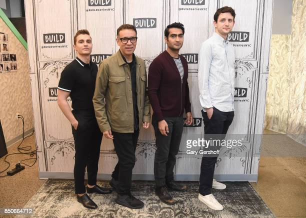Dave Franco Fred Armisen Kumail Nanjiani and Zach Woods visit the Build Series to discuss the animated film 'The LEGO Ninjago Movie' at Build Studio...