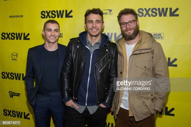 Dave Franco James Franco and Seth Rogen arrive for the premiere of the film The Disaster Artist during The South by Southwest Film Conference held at...