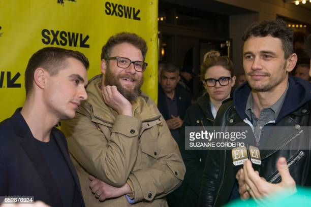 Dave Franco Seth Rogen and James Franco arrive for the premiere of the film The Disaster Artist during The South by Southwest Film Conference held at...