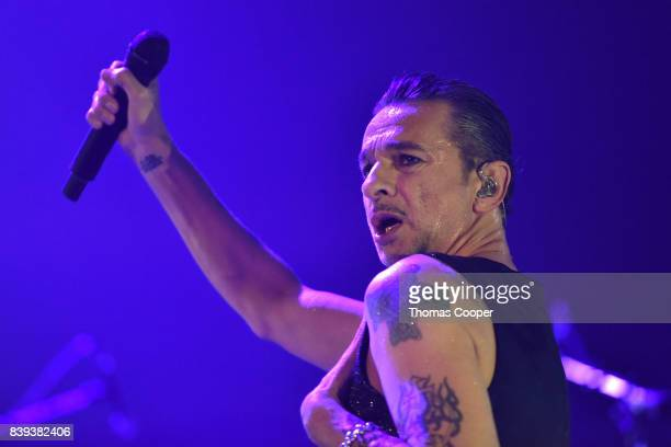 Dave Gahan lead singer for Depeche Mode performs during thier Global Spirit Tour at Pepsi Center on August 25 2017 in Denver Colorado
