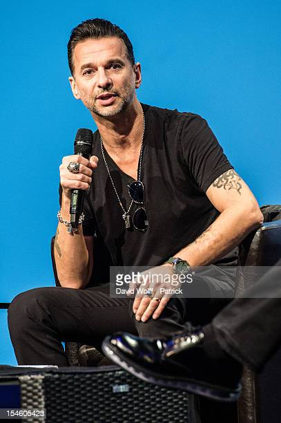 Dave Gahan of Depeche Mode attends a press conference to announce the release of a new album and world tour in 2013 at La Gaite Lyrique at La Gaite...