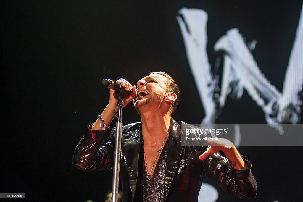 Dave Gahan of Depeche Mode performs at LG Arena on January 27 2014 in Birmingham England