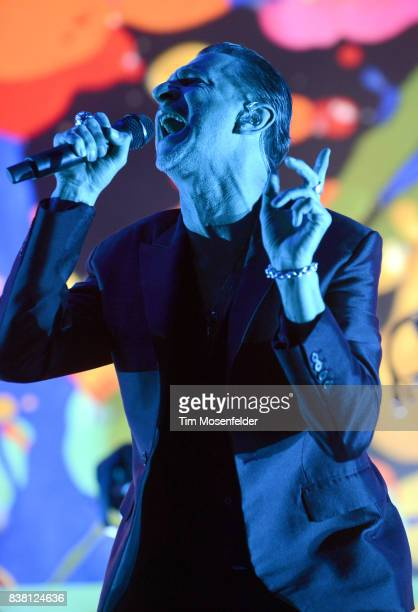 Dave Gahan of Depeche Mode performs during the band's 'Global Spirit Tour' US opening night at USANA Amphitheatre on August 23 2017 in West Valley...