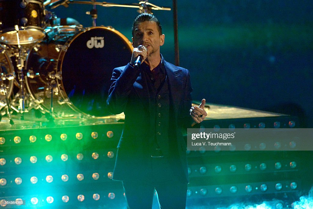 <a gi-track='captionPersonalityLinkClicked' href=/galleries/search?phrase=Dave+Gahan&family=editorial&specificpeople=537515 ng-click='$event.stopPropagation()'>Dave Gahan</a> of 'Depeche Mode' performs during 'Wetten, dass..?' TV Show at Stadthalle on March 23, 2013 in Vienna, Austria.