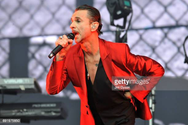 Dave Gahan of Depeche Mode performs live on stage during the 'Spirit' tour at the London Stadium in the Queen Elizabeth Olympic Park on June 3 2017...
