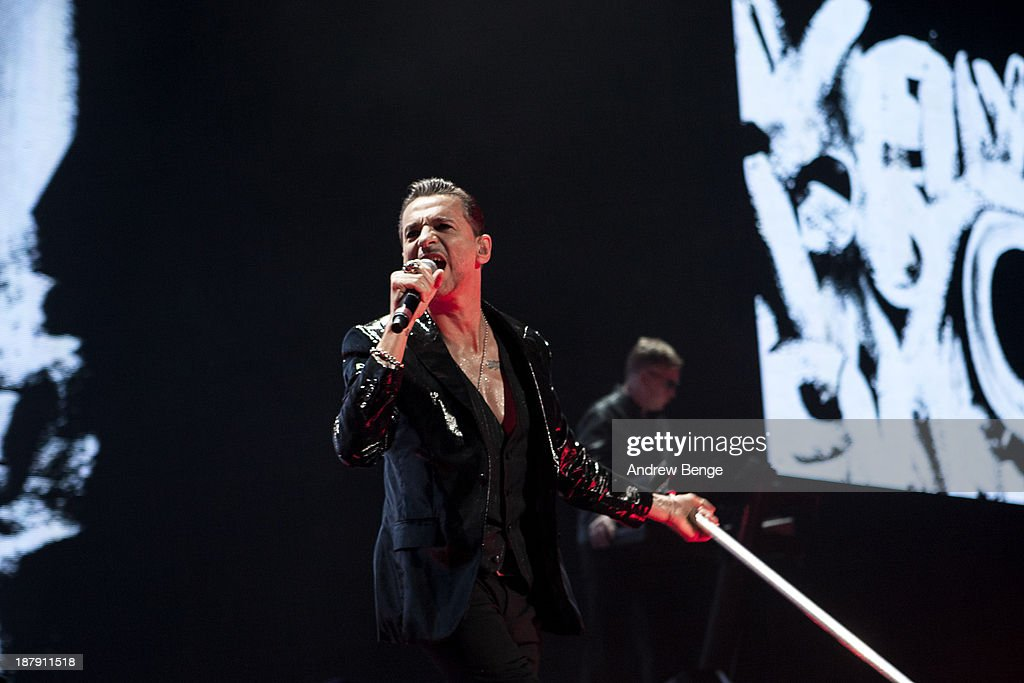 Dave Gahan of Depeche Mode performs on stage at First Direct Arena on November 13, 2013 in Leeds, United Kingdom.
