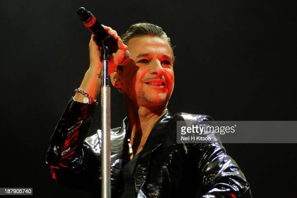 Dave Gahan of Depeche Mode performs on stage at Leeds Arena on November 13 2013 in Leeds England